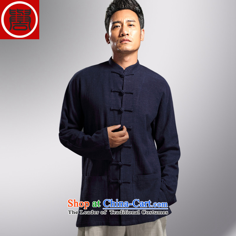Renowned Tang dynasty autumn long-sleeved men detained Chinese tunic Han-rom China wind linen men casual relaxd cotton linen and dark blue?XXXL Shirt