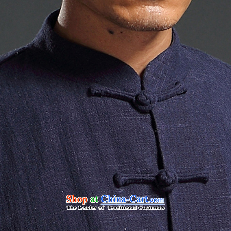 Renowned Tang dynasty autumn long-sleeved men detained Chinese tunic Han-rom China wind linen men casual relaxd cotton linen shirts and dark blue XXXL, renowned (CHIYU) , , , shopping on the Internet