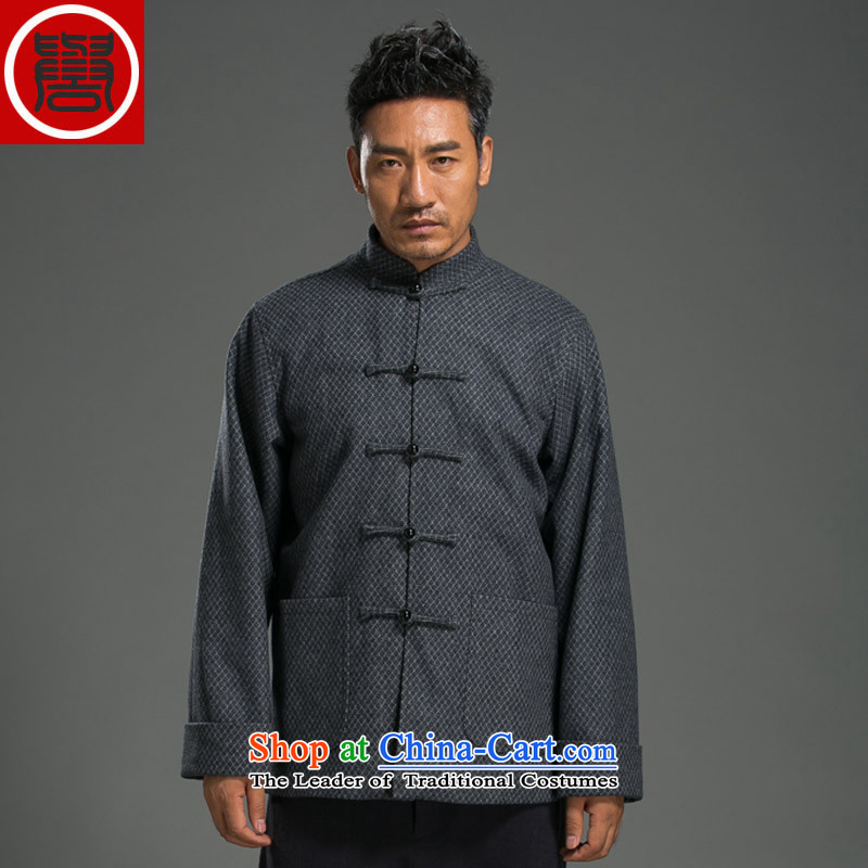 Renowned China wind Buddha clasp Tang Dynasty Chinese Men's Mock-Neck long-sleeved cotton linen loose men t-shirt national gray?XL