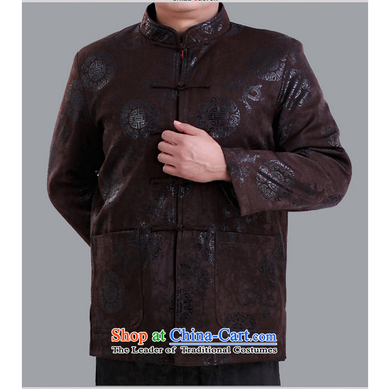 Mr Rafael Hui Kai new Timor men in Tang Dynasty older men and the Tang dynasty life happy birthday gift Tang dress jacket 13137 color espresso coffee 180