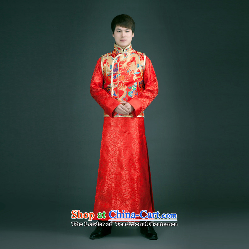 The 2015 autumn and winter clothing with Chinese style wedding dresses-soo of the bridegroom retro services use the dragon summer Wo Men Ancient Chinese tunic upscale red Tang dynasty?L