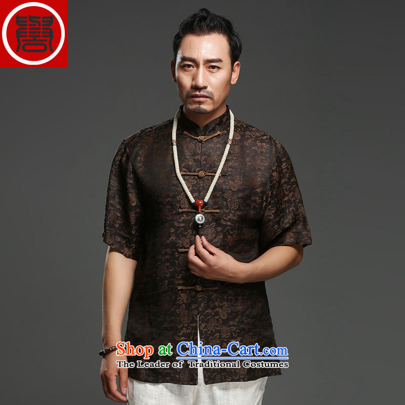 Renowned Chinese service men Summer Scent of silk yarn in the cloud of older men's Tang dynasty short-sleeved disc Chinese wind load T0024 father black聽L