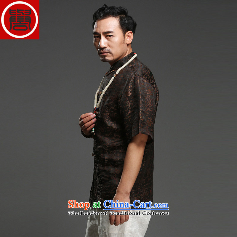 Renowned Chinese service men Summer Scent of silk yarn in the cloud of older men's Tang dynasty short-sleeved disc Chinese wind load T0024 father black聽, L, renowned (chiyu) , , , shopping on the Internet