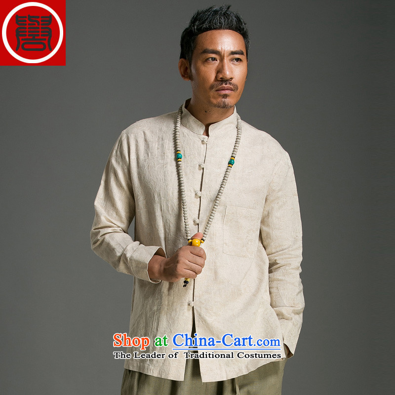Renowned China wind on the fall of New Men's shirts and Tang dynasty jacquard male Long-Sleeve Shirt Han-Chinese men's national costumes autumn retro shirt Yellow XL