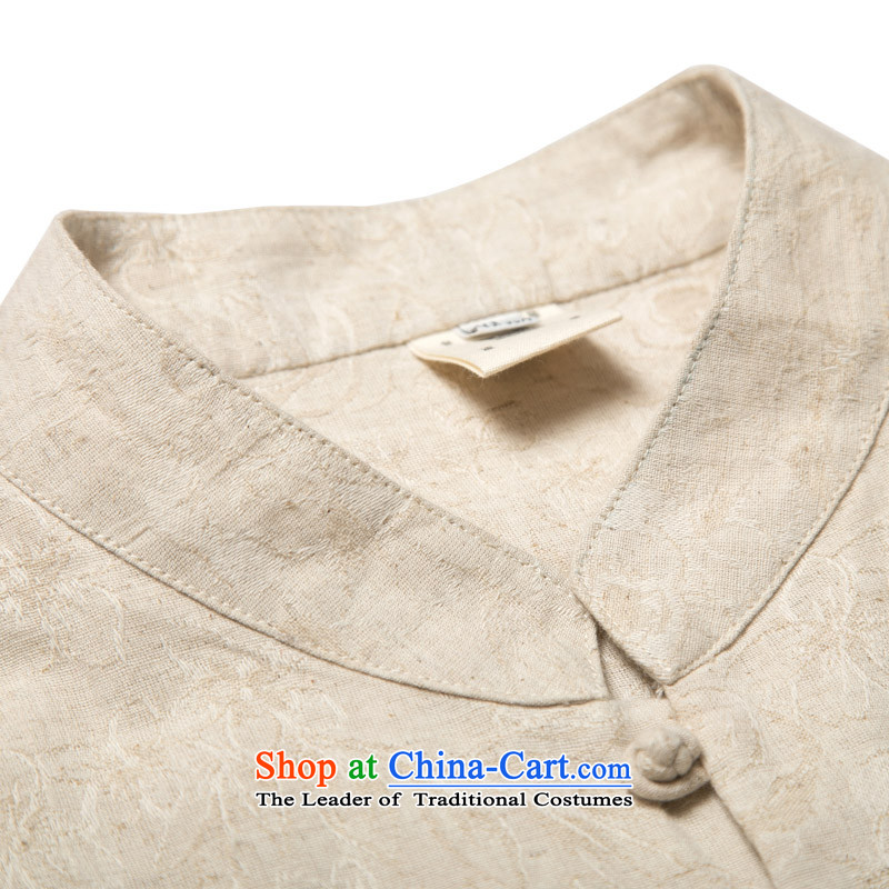 Renowned China wind on the fall of New Men's shirts and Tang dynasty jacquard male Long-Sleeve Shirt Han-Chinese men's national costumes autumn retro shirt YellowXL, renowned (CHIYU) , , , shopping on the Internet