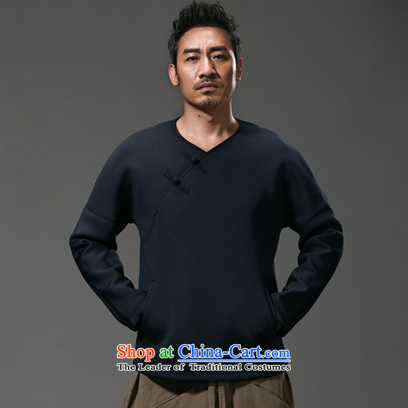 Renowned Chinese Services China wind autumn and winter and long-sleeved T-shirt small V-neck disc pure color tie Tang dynasty male jacket loose cotton linen clothes male and dark blue?L
