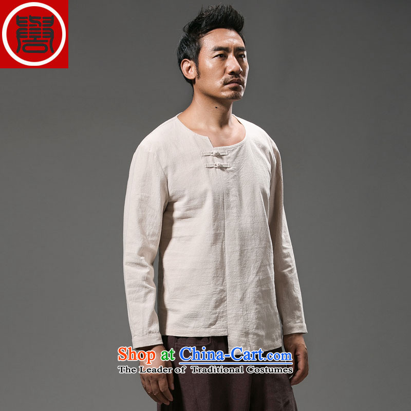 Renowned Chinese Services China wind and long-sleeved top male and Tang dynasty men fall replacing men Han-disc detained national costumes personality rice white燲L 2015