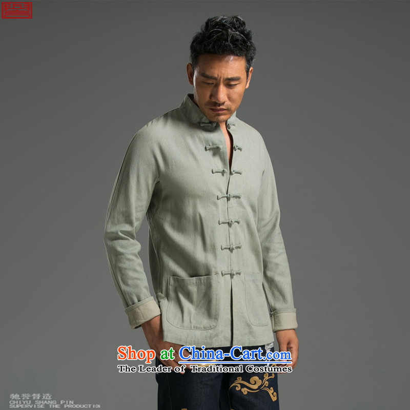 Renowned Chinese Services China wind retro denim Tang Dynasty Chinese long-sleeved jacket autumn Men's Mock-Neck tray clip and trendy serving light green聽3XL National