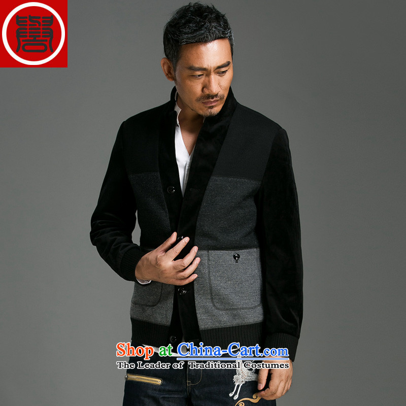 Renowned Chinese clothing autumn and winter men's woolen collar high-end men wool coat jacket male short?_ windbreaker jacket and dark gray 8021燣