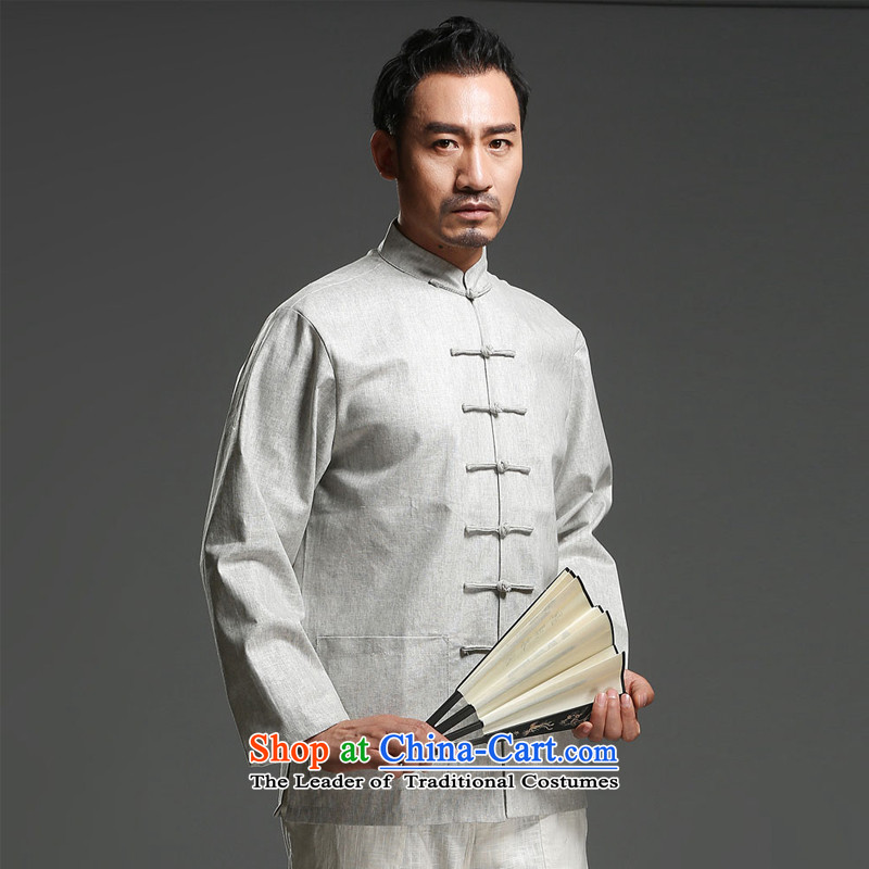 Renowned Chinese Services China wind Chinese long-sleeved men loaded during the spring and autumn new Tang dynasty and long-sleeved tray clip Tang dynasty father replacing cotton linen, light gray聽XL