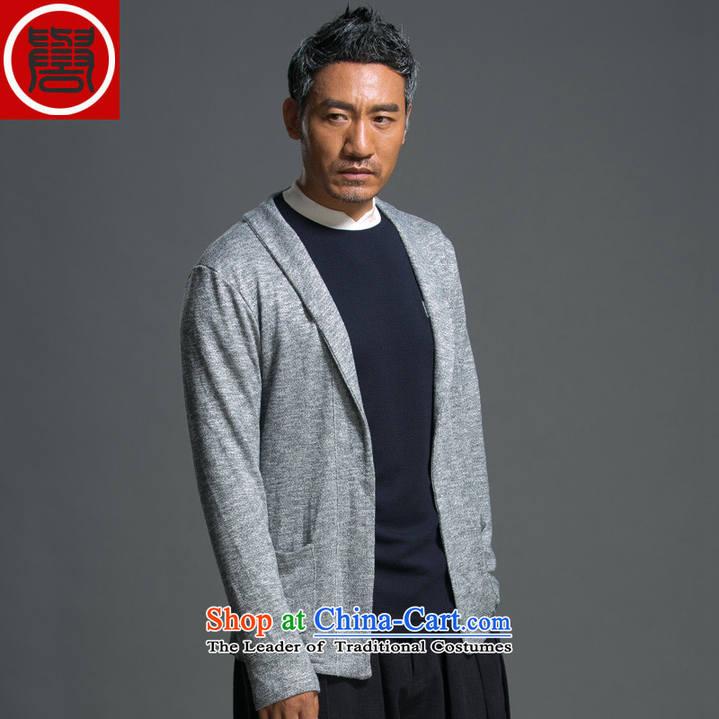 Renowned Chinese Services China wind load spring and autumn new man jacket lapel pins with a Chinese Sau San knitting cardigan long-sleeved sweater sweater Light Gray燣