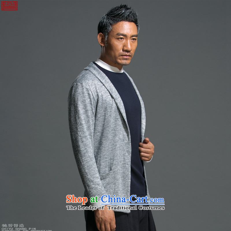Renowned Chinese Services China wind load spring and autumn new man jacket lapel pins with a Chinese Sau San knitting cardigan long-sleeved sweater sweater light gray, L, renowned (chiyu) , , , shopping on the Internet