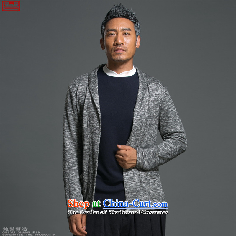 Renowned Chinese Services China wind load spring and autumn new man jacket lapel pins with a Chinese Sau San knitting cardigan long-sleeved sweater sweater light gray , L, renowned (chiyu) , , , shopping on the Internet