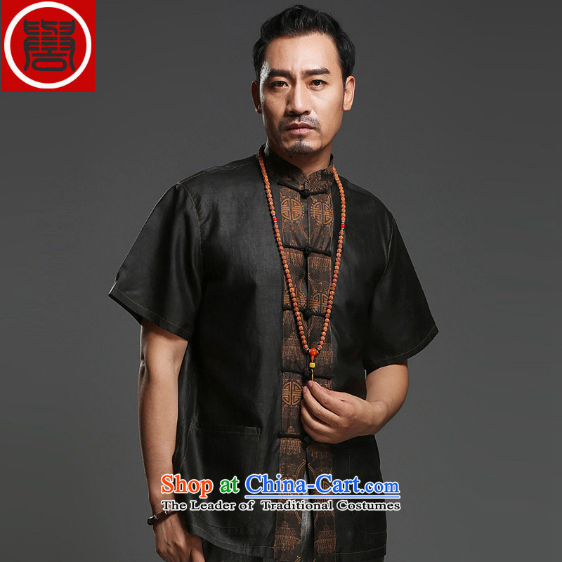 Renowned Chinese service men silk short-sleeved Tang Dynasty Chinese shirt Men's Shirt herbs extract cloud of incense yarn male half sleeve T9139 national black?L