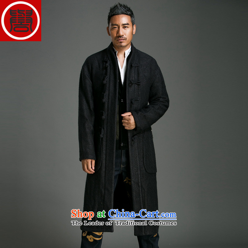 Renowned Chinese men of autumn and winter clothing leisure-semi-high collar coats single row Chinese men long wave wool wind jacket? 71 Black?XL