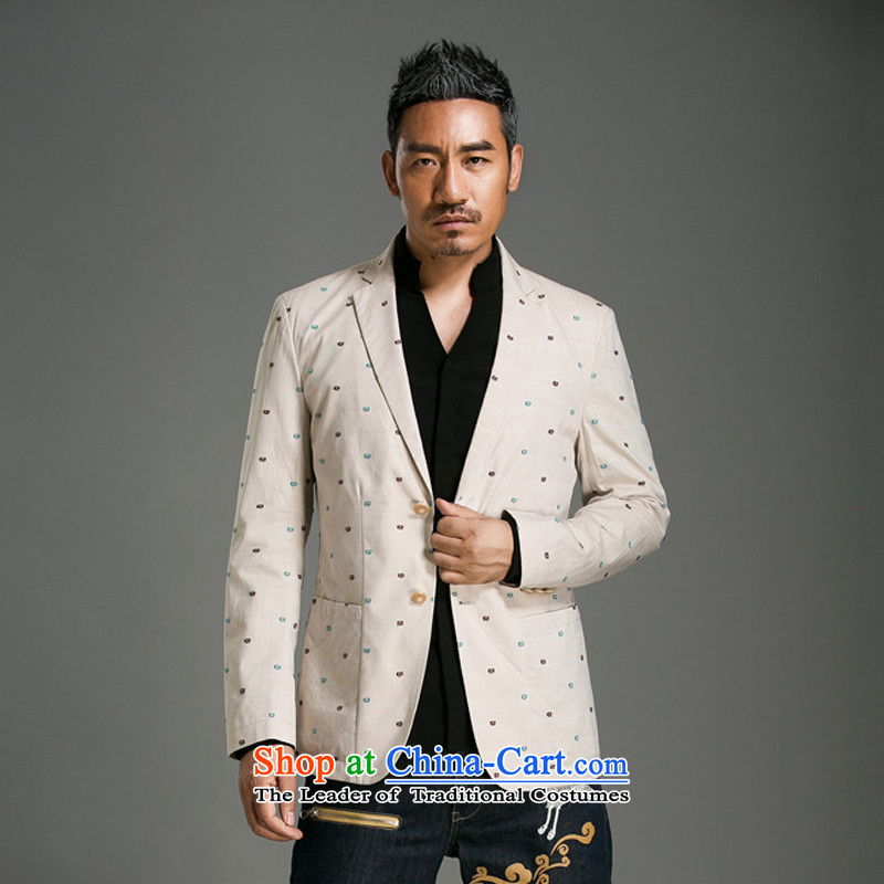 Renowned Chinese service pack men suit during the spring and autumn Sau San youth in a stylish men's jackets suit new products wide neck leisure dot 10 m White?XL