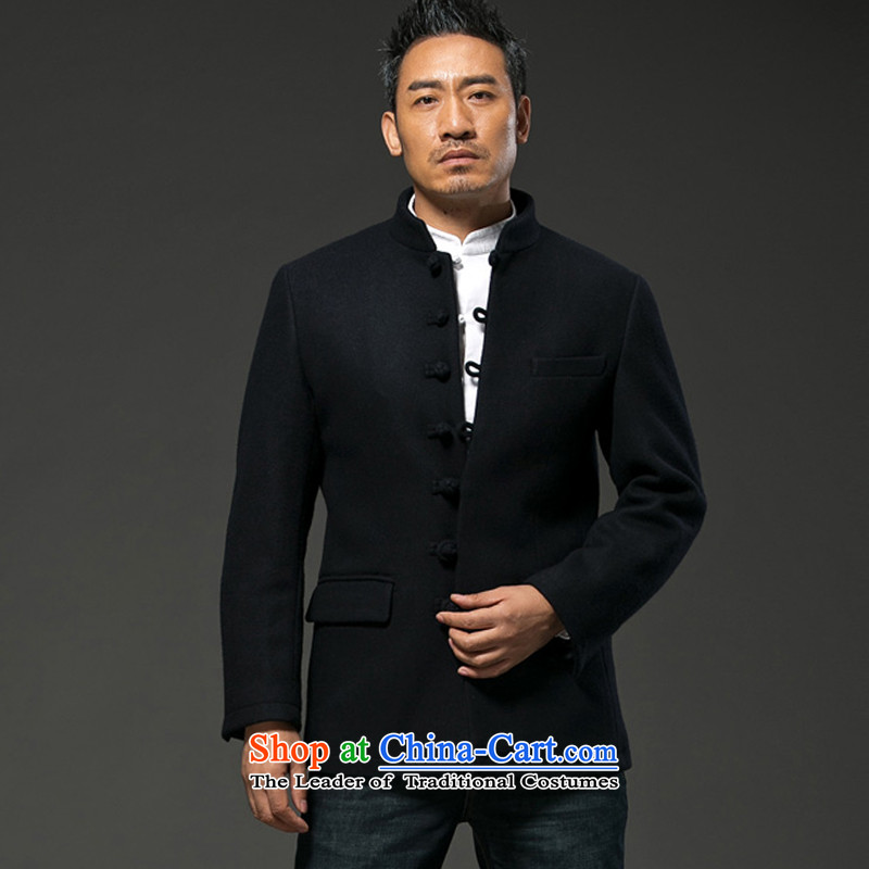 Renowned Chinese Services 2015 winter jackets and short, long-sleeved solid thick wool Chinese tunic men for either the business or leisure? jacket male and crisp black燣