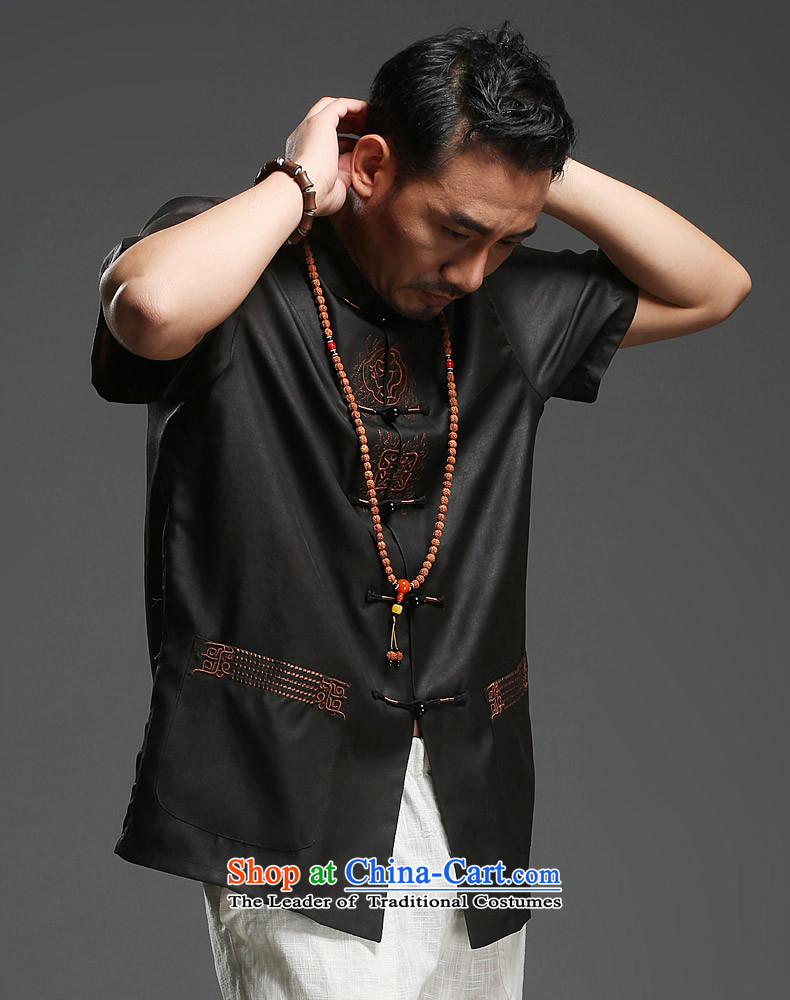 Renowned Chinese service men Tang dynasty silk short-sleeved cloud of incense yarn Men's Shirt father replacing Chinese collar China wind summer T9138 black聽L picture, prices, brand platters! The elections are supplied in the national character of distribution, so action, buy now enjoy more preferential! As soon as possible.