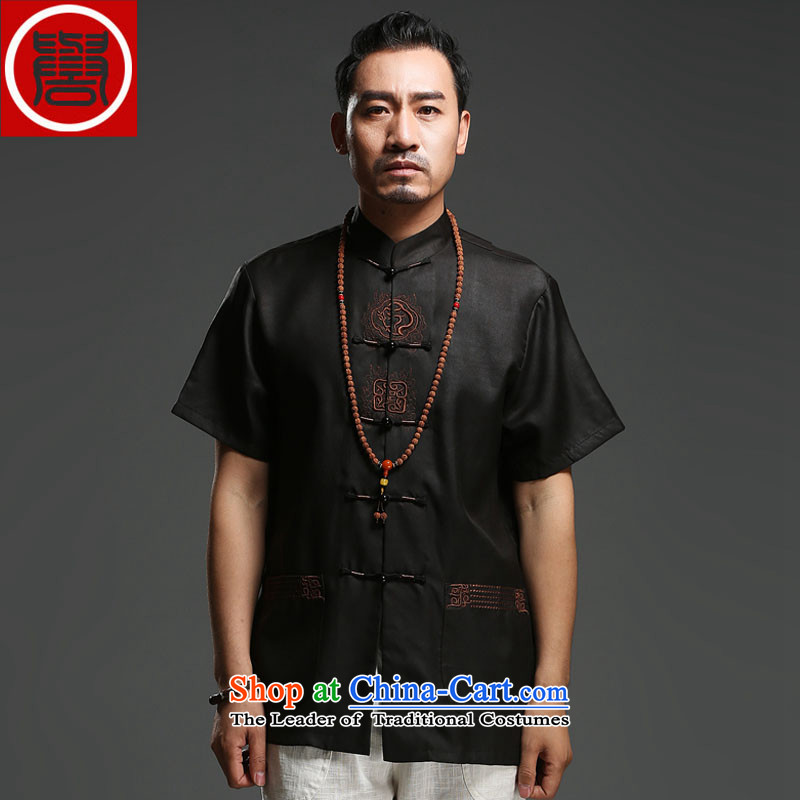 Renowned Chinese service men Tang dynasty silk short-sleeved cloud of incense yarn Men's Shirt father replacing Chinese collar China wind summer T9138 black L