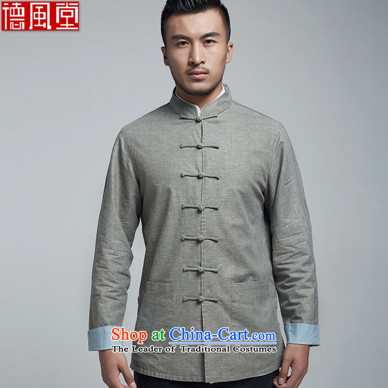 De Fudo Cho-won by 2015 China wind long-sleeved sweater youth men tang with shoulder-sleeved T-shirt, gray and green man mandatory燲XXL