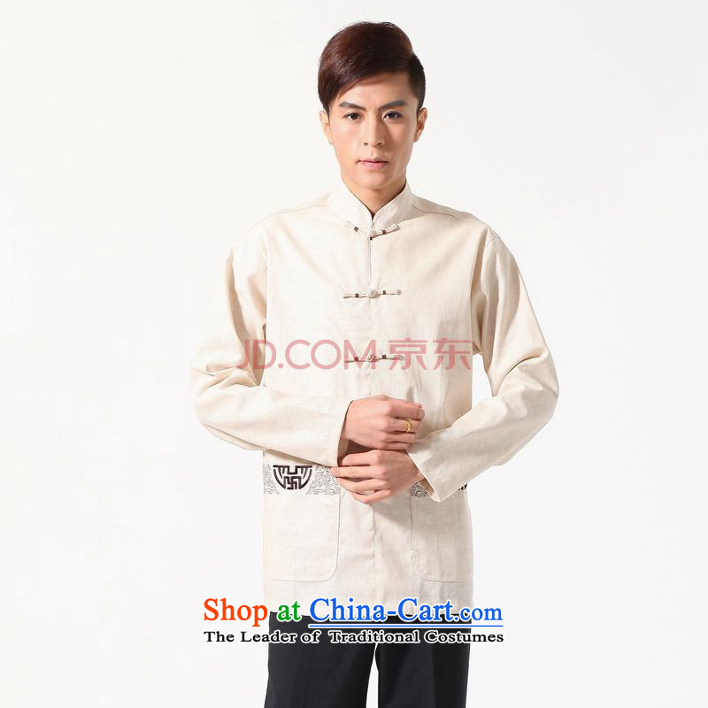 Min Joseph long-sleeved Tang Dynasty Chinese Improved large Chinese tunic of Men's Mock-Neck embroidered cotton linen Tang dynasty shirt, beige聽, L, Min Joseph shopping on the Internet has been pressed.