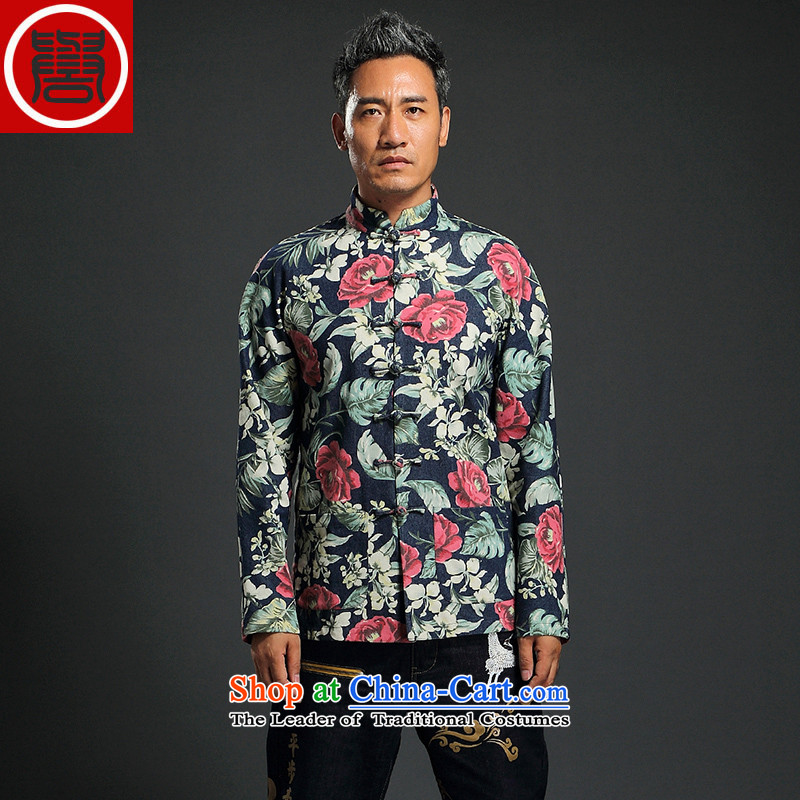 Renowned Chinese service renowned China wind suit male stylish decorated in stamp Tang long-sleeved collar disc detained during the spring and autumn jacket abounds Chinese improved?XL