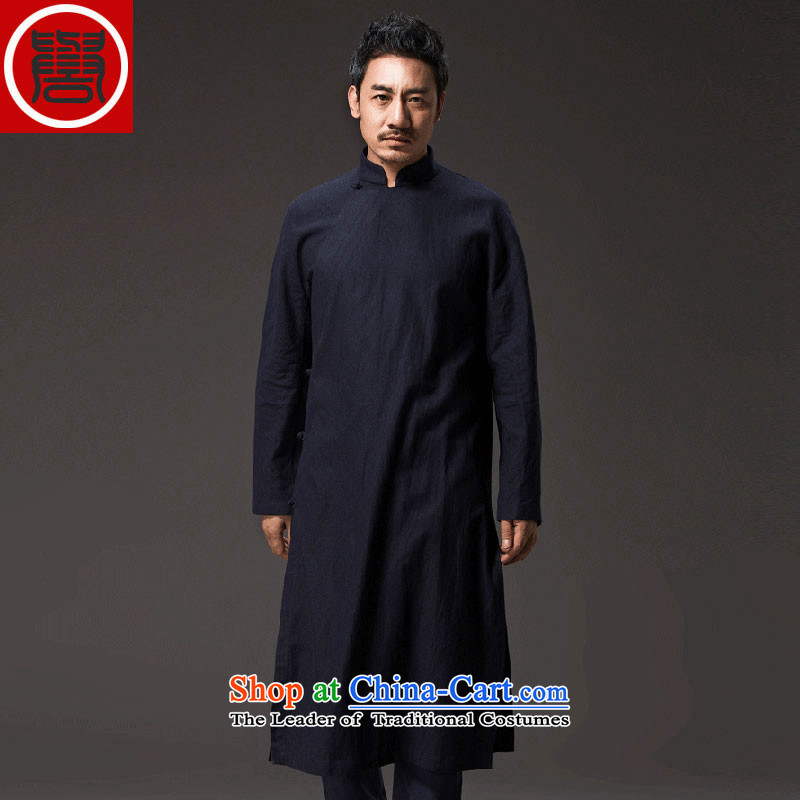 Renowned Chinese Tang dynasty services improved Han-long-sleeved clothing is loose ball-spiritual badges of T-shirt male China wind cotton linen tea service聽XXXL Dark Blue
