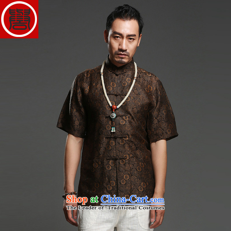 Renowned Chinese national wave service for summer 2015 men's shirts聽100 herbs extract Short-Sleeve Mock-Neck Shirt Silk Tang dynasty wine red聽XL, renowned (chiyu) , , , shopping on the Internet