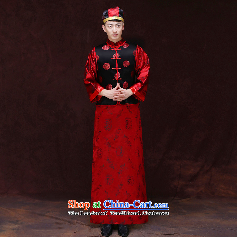 Tsai Hsin-soo wo service of men's new Chinese style wedding service men married toasting champagne Ogonis dress Soo Wo Service happy marriage maximum use of ancient bridegroom set of clothing S