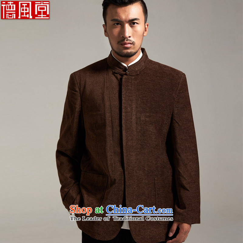 Fudo Great China de wind Men's Jackets Tang jackets?2015 autumn and winter middle-aged long-sleeved father replacing coffee-colored?52/3XL