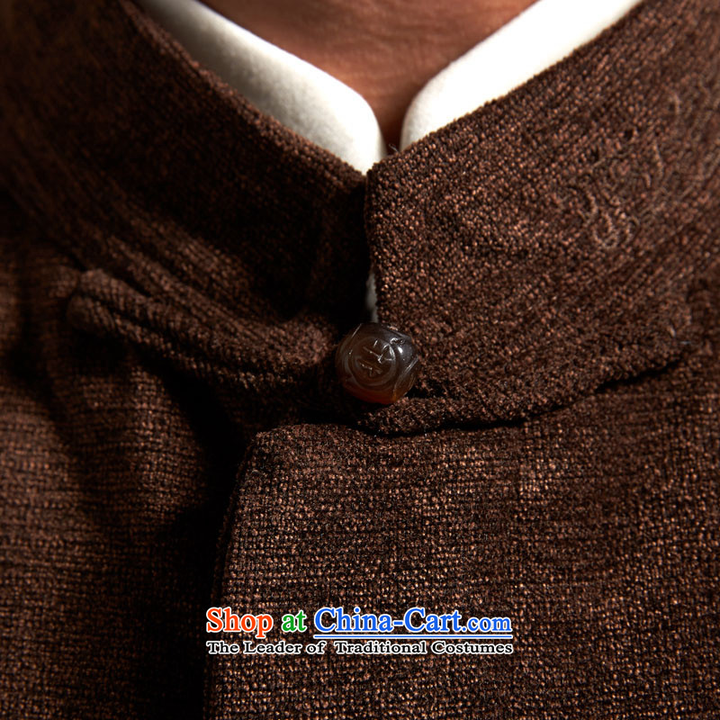 Fudo Great China de wind Men's Jackets Tang jackets聽2015 autumn and winter middle-aged long-sleeved father replacing coffee-colored聽52/3XL, de fudo shopping on the Internet has been pressed.