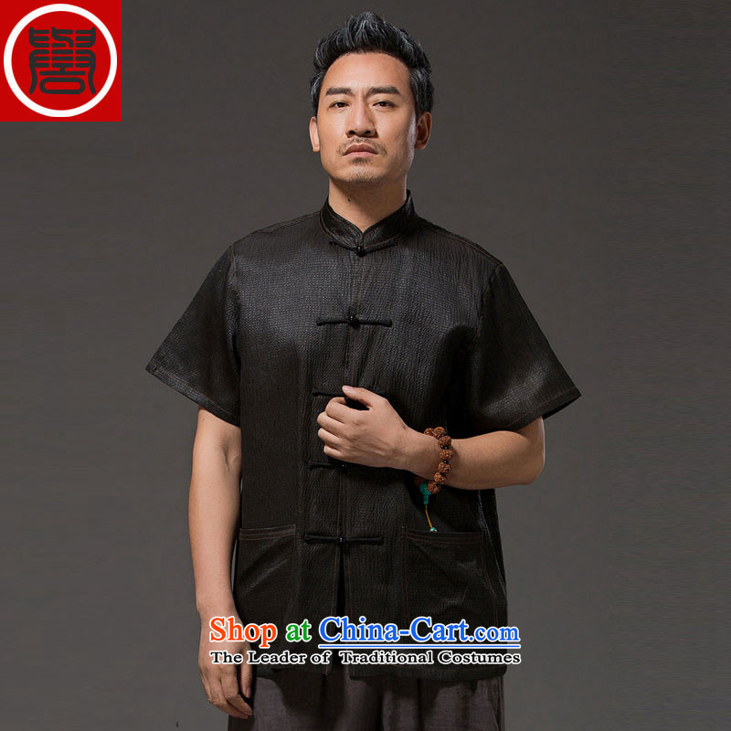 Renowned Chinese herbs extract services of ethnic Chinese in the number of older men on the silk-short-sleeved T-shirt of cloud silk Tang-pack Black聽3XL
