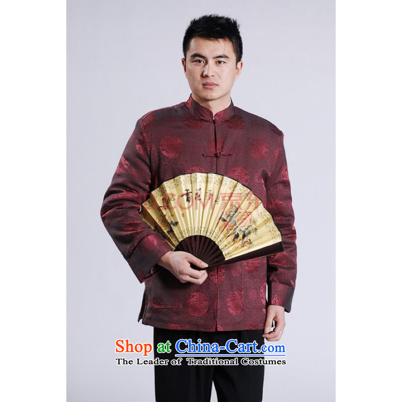 Min Joseph Men's Jackets thick cotton plus add-Tang Tang replacing men long-sleeved sweater Chinese Dragon Tang blouses wine red L