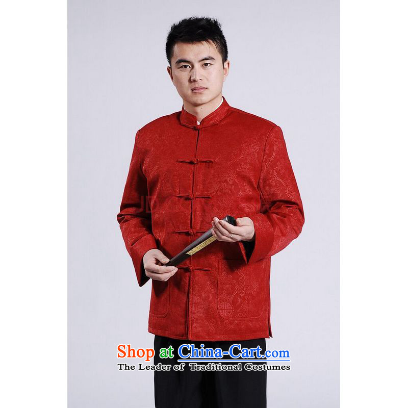 Min Joseph Men's Jackets thick cotton plus add-Tang Tang replacing men long-sleeved sweater Chinese Dragon Tang blouses red燲XL