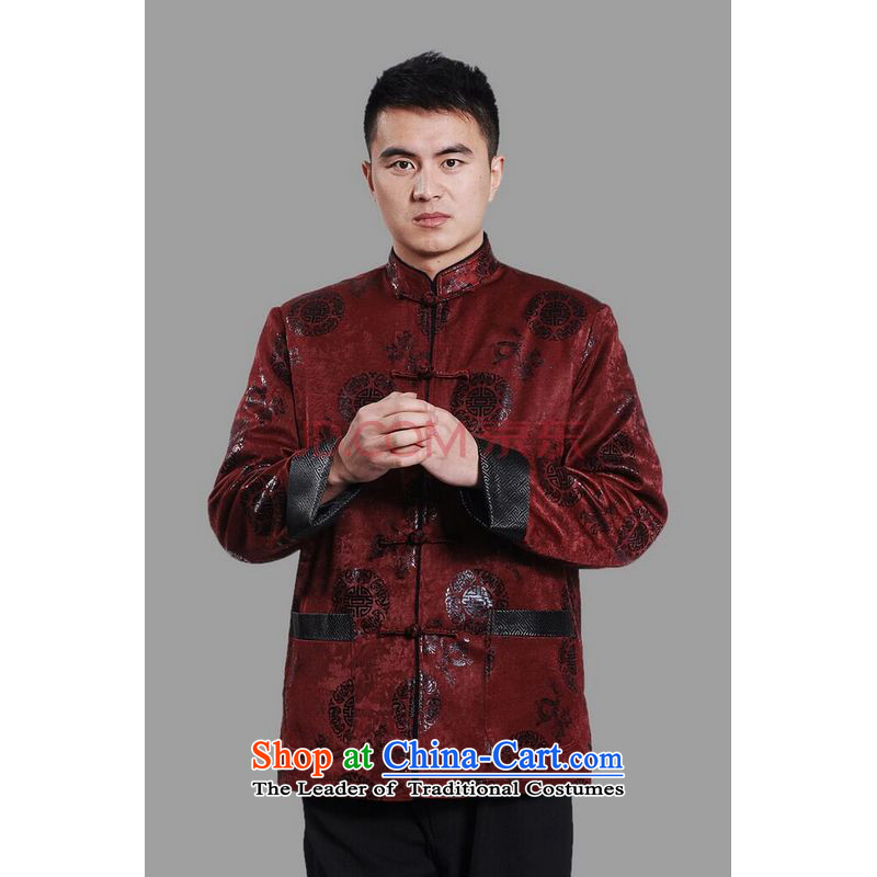 Min Joseph men's jacket water Sable Hair Tang Add Tang dynasty lint-free men long-sleeved sweater Chinese Dragon Tang blouses dark red M