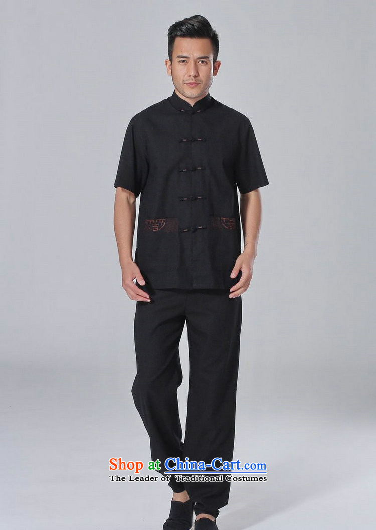 The elderly in the Arthur Min Tang dynasty male summer cotton linen collar Chinese Tai Chi Man serving short-sleeve kit for larger men's kung fu kit blackL picture, prices, brand platters! The elections are supplied in the national character of distribution, so action, buy now enjoy more preferential! As soon as possible.