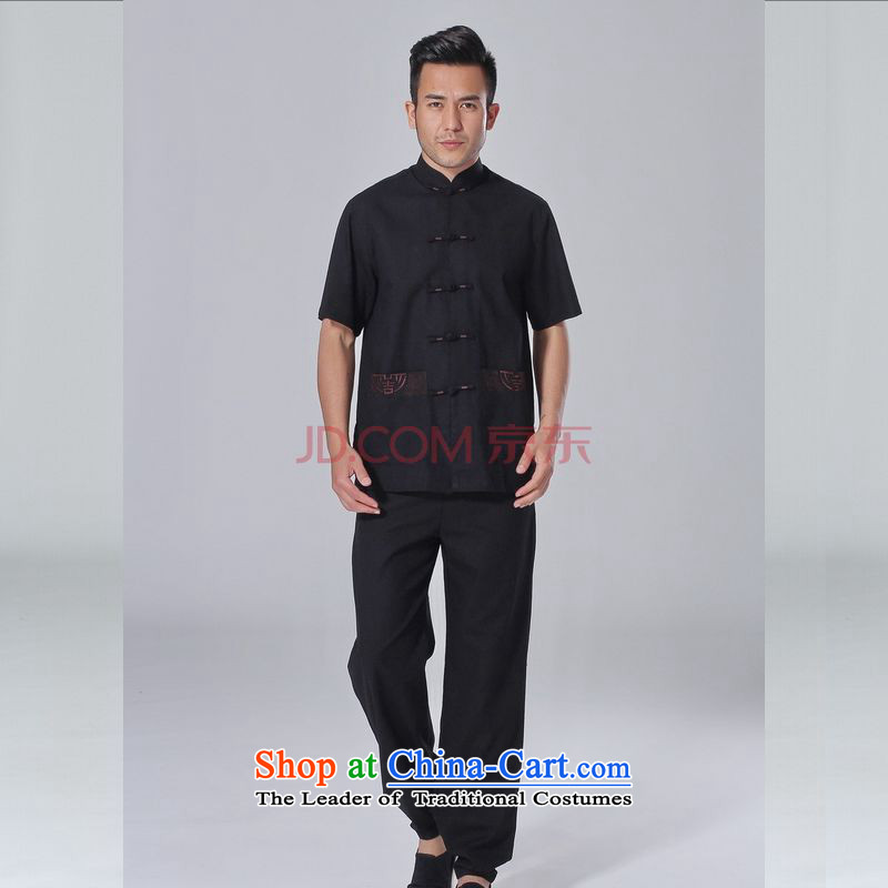 The elderly in the Arthur Min Tang dynasty male summer cotton linen collar Chinese Tai Chi Man serving short-sleeve kit for larger men's kung fu kit black燣