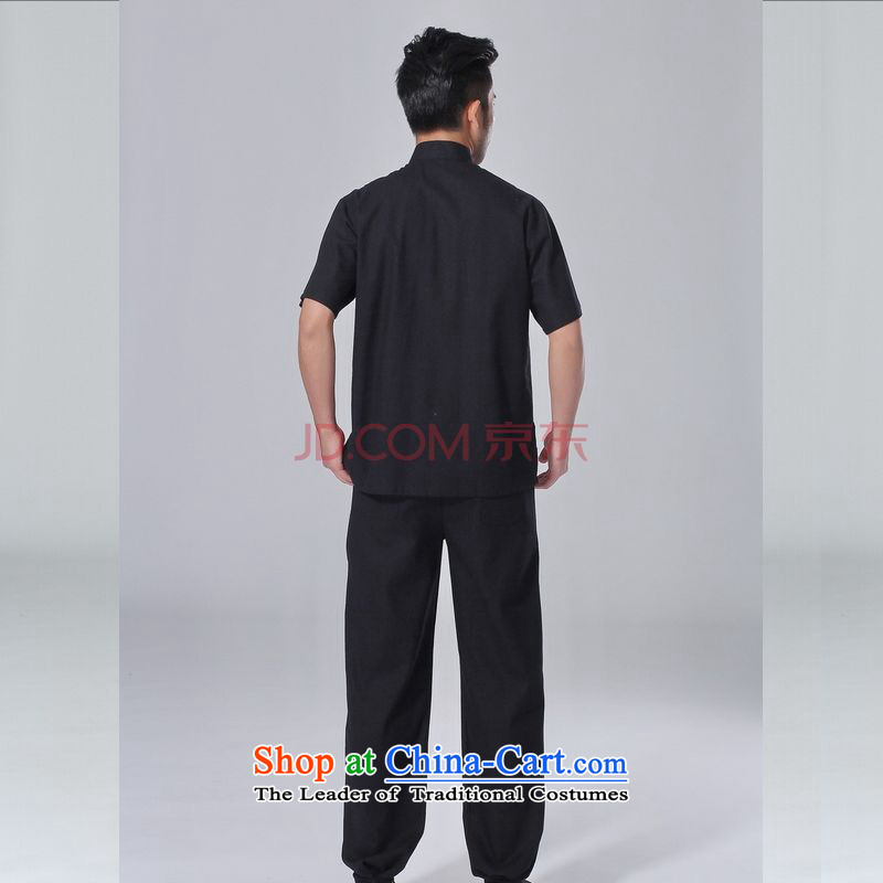 The elderly in the Arthur Min Tang dynasty male summer cotton linen collar Chinese Tai Chi Man serving short-sleeve kit for larger men's kung fu Kit, L, Joseph Pang black , , , shopping on the Internet