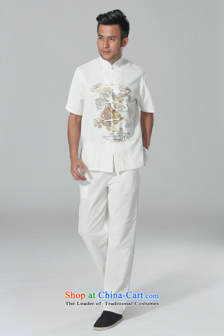 The elderly in the Arthur Min Tang dynasty male summer cotton linen collar Chinese Tai Chi Man serving short-sleeve kit for larger men's kung fu kit white聽L picture, prices, brand platters! The elections are supplied in the national character of distribution, so action, buy now enjoy more preferential! As soon as possible.