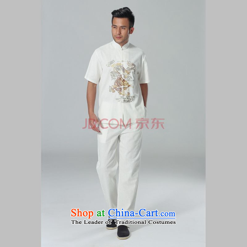 The elderly in the Arthur Min Tang dynasty male summer cotton linen collar Chinese Tai Chi Man serving short-sleeve kit for larger men's kung fu kit white燣