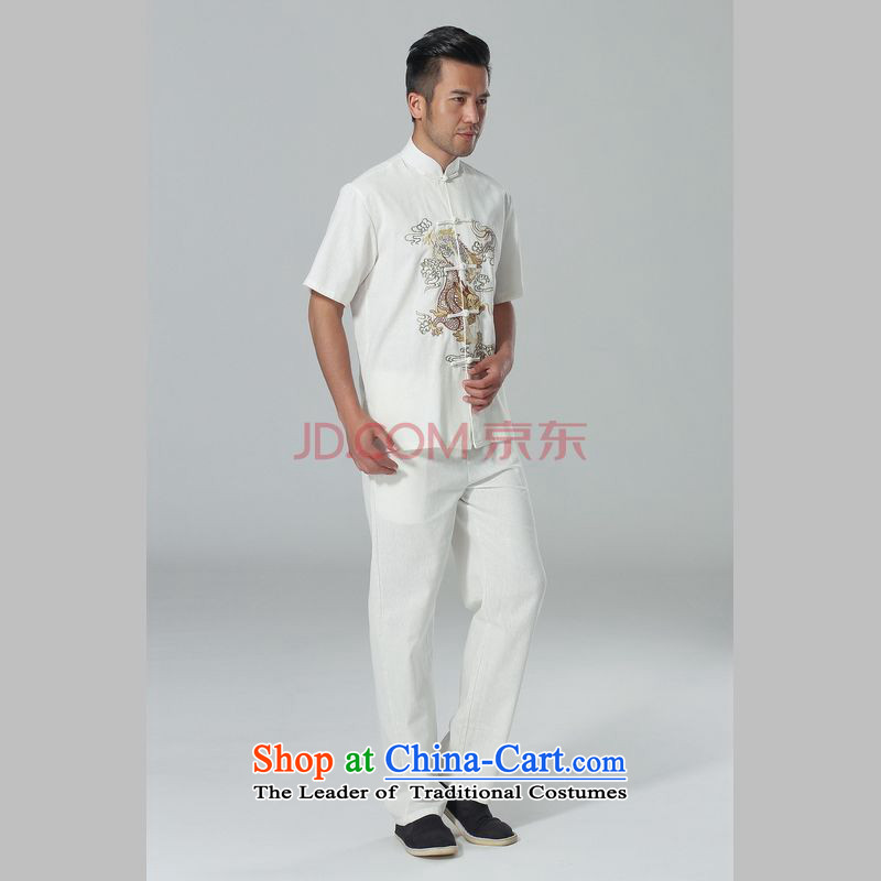 The elderly in the Arthur Min Tang dynasty male summer cotton linen collar Chinese Tai Chi Man serving short-sleeve kit for larger men's kung fu kit white聽, L, Min Joseph shopping on the Internet has been pressed.