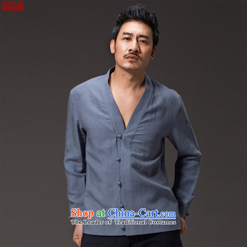 Renowned Chinese Services China wind men ball-Tang dynasty spring service men and long-sleeved Tencel Ma Han-meditation services jacket Chinese聽3XL 2,005