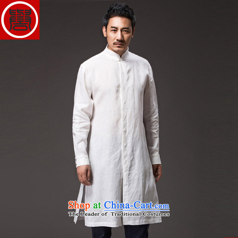 Renowned Chinese renowned service Tang dynasty China Wind, men fall linen men casual clothes for men national costumes of men's white windbreaker聽4XL