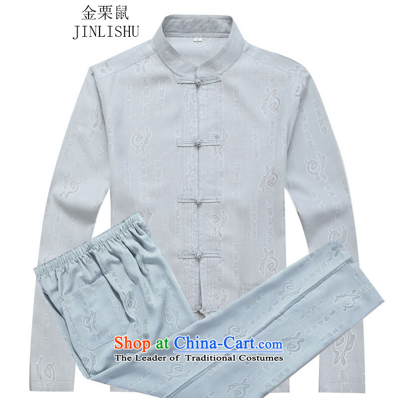 Kanaguri mouse autumn New Men long-sleeved Tang dynasty national costumes in older jogging kit gray suit燲XXL