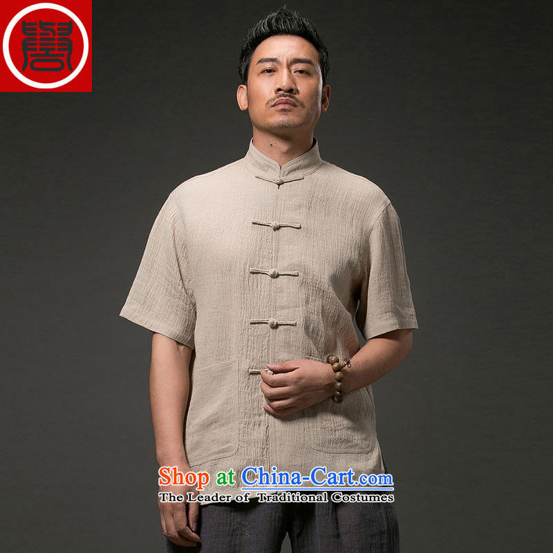 Renowned Chinese Tang dynasty to the cotton linen short-sleeved older Chinese short-sleeved cloth temperament disc buttoned, national service men summer�L Light Yellow