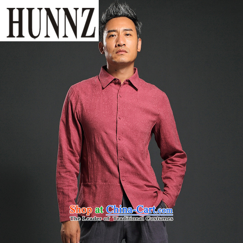 Hunnz2015 New Products China wind Tang Dynasty Men's Long-Sleeve lapel improved national dress shirt and dark red燲L