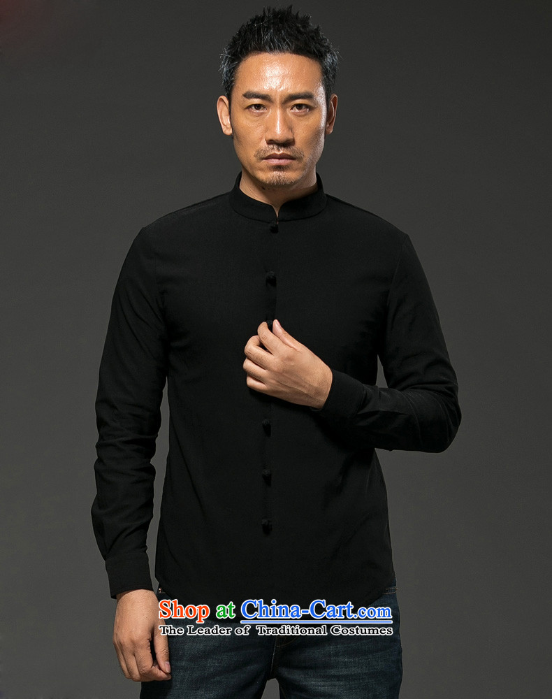 Hunnz China wind cotton linen collar disc detained men Tang Dynasty Chinese long-sleeved shirt-Sau San national costume white L picture, prices, brand platters! The elections are supplied in the national character of distribution, so action, buy now enjoy more preferential! As soon as possible.