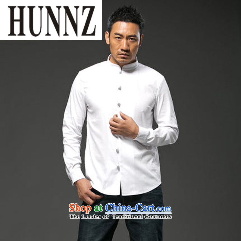 Hunnz China wind cotton linen collar disc detained men Tang Dynasty Chinese long-sleeved shirt-Sau San national costume white L,HUNNZ,,, shopping on the Internet