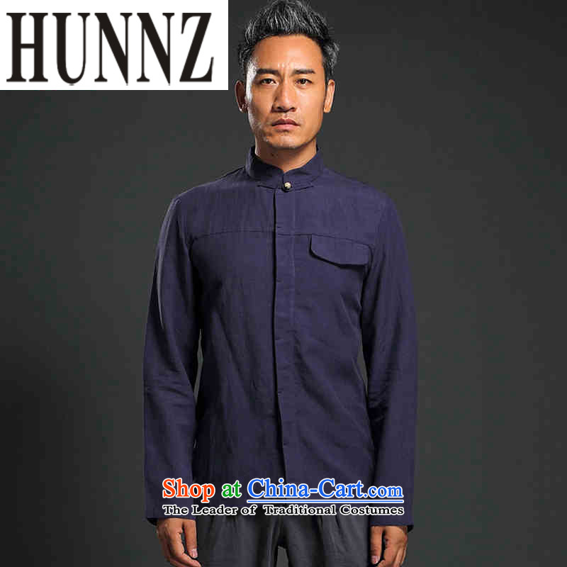 Hunnz China wind shirt long-sleeved shirt linen men minimalist Solid Color Chinese Tang tray clip Chinese tunic dark blue燲L