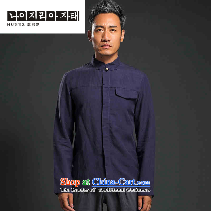 Name of China wind shirt HANNIZI Men long-sleeved shirt linen minimalist Solid Color Chinese Tang tray clip Chinese tunic dark blue燣